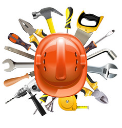 Construction helmet with tools vector