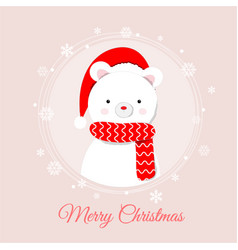 cute polar bear standing in the snow lovely vector image