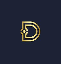 d initial gold logo vector image