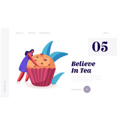 Dessert for tea party or fest celebration website vector