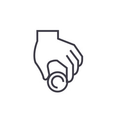donationhand with coinpayment line icon vector image