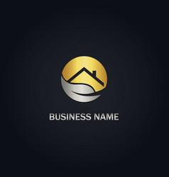 eco house gold logo vector image