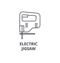 electric jigsaw line icon sign vector image