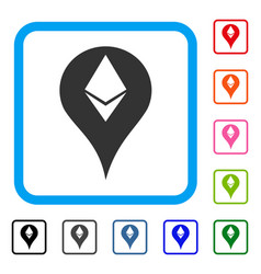 Ethereum map marker framed icon vector
