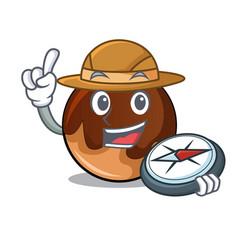explorer chocolate donut mascot cartoon vector image
