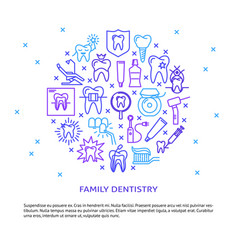 Family dentistry round concept banner in line vector