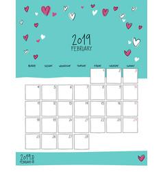 february 2019 wall calendar doodle style vector image