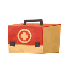 first aid kit medicine chest isolated on white vector image
