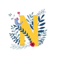 Floral alphabet letter n vector
