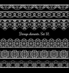 floral border set frame elements for vector image