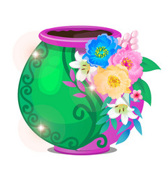 Flowerpot decorated with flowers isolated on white vector