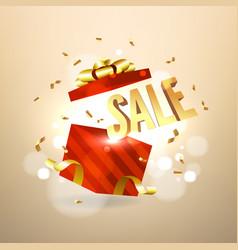 golden sale inside open red gift box vector image