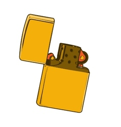Golden zippo lighter vector image