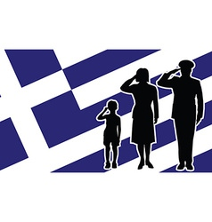 Greece soldier family salute vector image