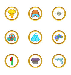 guns icons set cartoon style vector image