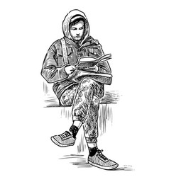 Hand drawing a student reading a book vector