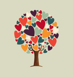 Heart shape tree for love concept vector