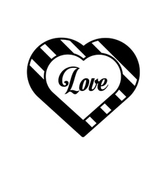 hearts love black and white decoration outline vector image