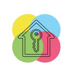 house key unlock house isolated vector image