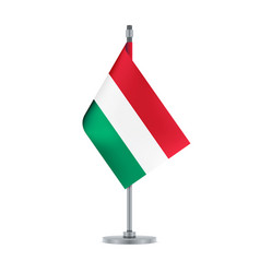 hungarian flag hanging on the metallic pole vector image