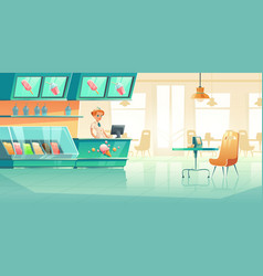 Ice cream shop interior with seller at counter vector