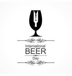 international beer day with beer mugs vector image