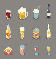 Isometric retro flat alcohol beer juice tea wine vector
