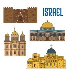 Israel architecture and famous buildings vector image