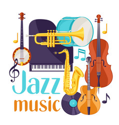 Jazz music festival background with musical vector