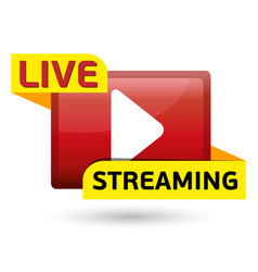 live streaming red button for vector image