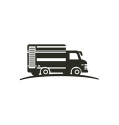 logo with truck isolated on white background vector image