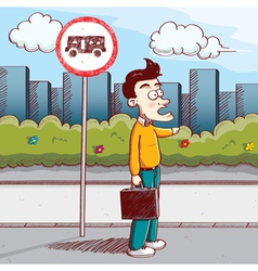man stop the bus vector image