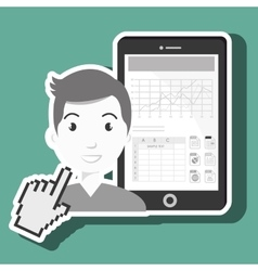 man with cellphone isolated icon design vector image