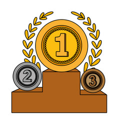 medal awards on podium vector image