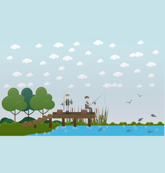 men fishing on pier flat vector image