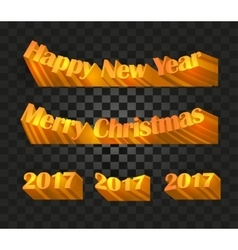 merry christmas and happy new year 2017 writing vector image