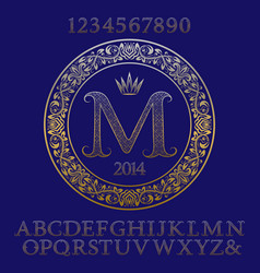 patterned gold letters and numbers with monogram vector image