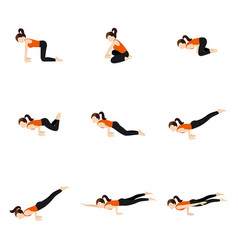 Peacock sequence yoga poses set vector
