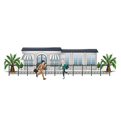 People running in front of the gated building vector