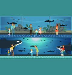 People visiting oceanarium parents and their kids vector