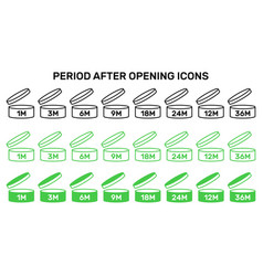 Period after open icons set symbols round vector