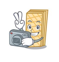 photographer waffle mascot cartoon style vector image