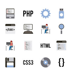 program coding set icons web design languages vector image