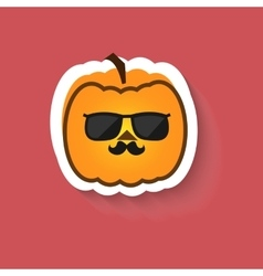 Pumpkin hipster in sunglasses vector image