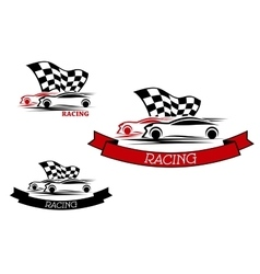 Racing sport emblems with fast cars vector