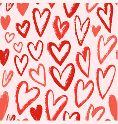 Red hearts seamless pattern repeating vector
