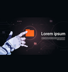 Robotic hand touch file folder button on digital vector