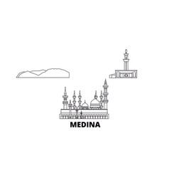 Saudi arabia medina line travel skyline set vector