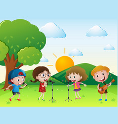Scene with kids singing and playing music vector