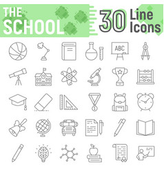 school thin line icon set education symbols vector image